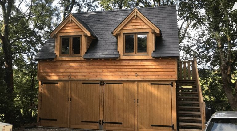 Tiled Wooden Double Garage