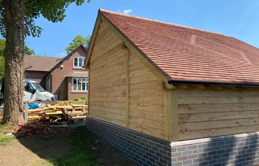 Tiled Angled Wooden Garage