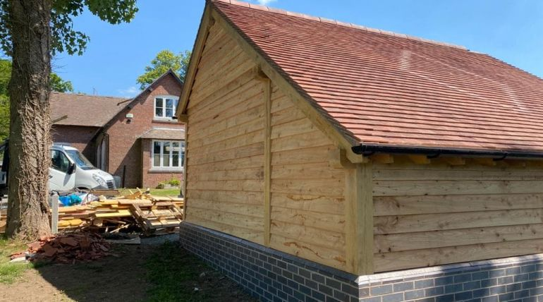 Tiled Angled Wooden Garage